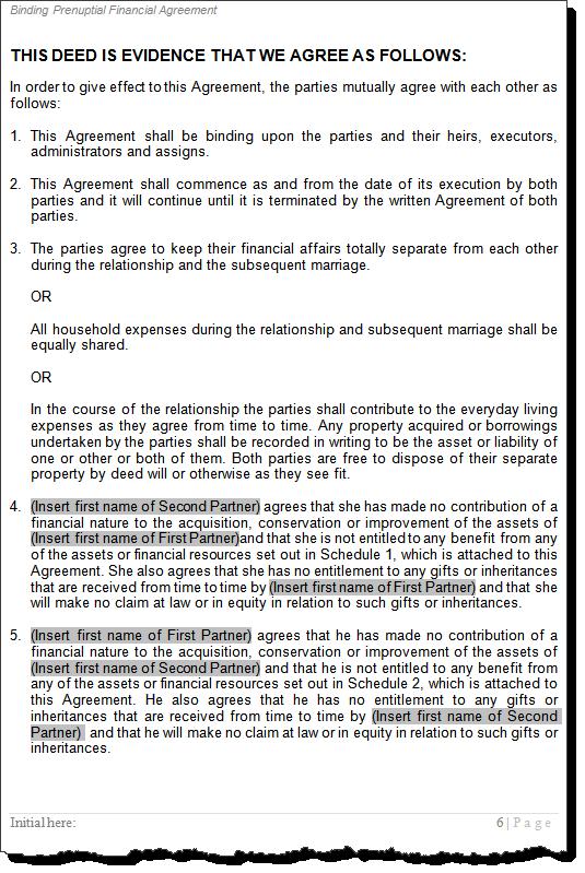 Prenuptial Financial Agreements